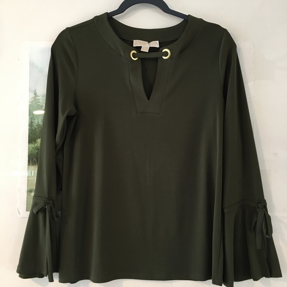 MICHAEL Michael Kors Tops - Michael Kors Bell Sleeve Black Blouse V Neck